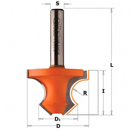 Fraise à arrondir carbure avec chanfrein 45° D. 36 x Lu. 25 x Q. 8 x R. 8 mm - 954.080.11 - CMT