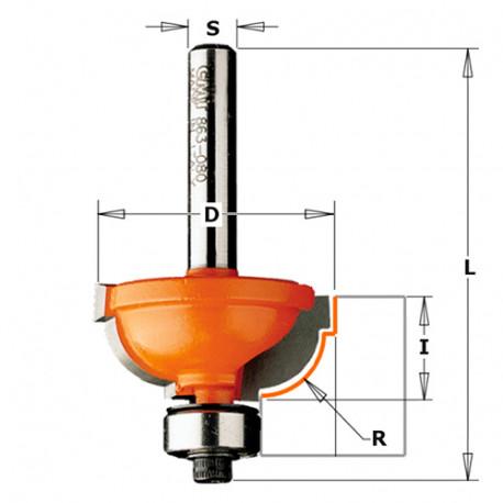 Fraise à doucine romaine carbure 2 tranchants D. 25,4 x Lu. 11,5 x Q. 8 x R. 4,8 mm - 963.048.11 - CMT