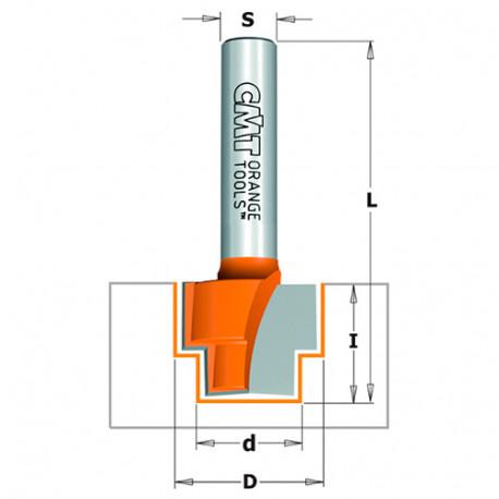 Fraise à défoncer carbure double feuillure, 2 tranchants D. 16,3 x Lu. 16 x Q. 8 mm - 965.122.11 - CMT