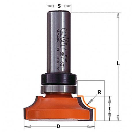 Fraise pour moulures décoratives avec roulement D. 38 x Lu. 14,5 x Q. 12 x R. 9,5 mm - 967.603.11B - CMT