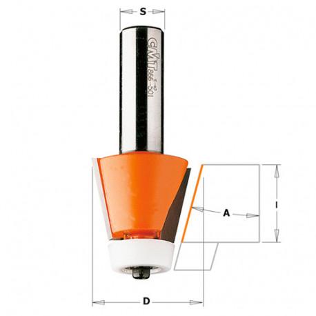 Fraise à chanfreiner pour matériaux composites 10° D. 28,5 mm x Lu. 25,4 x Q. 12 mm - 980.551.11 - CMT