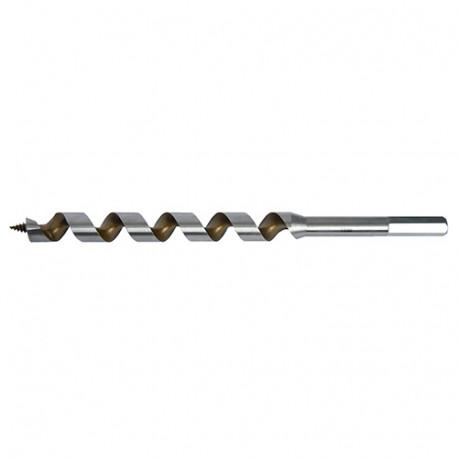Mèche bois de charpente à spirale unique Acier Pro TiN D. 10.0 x Lu. 385 x LT. 460 mm x Q. 6 pans - FZ100460 - Labor