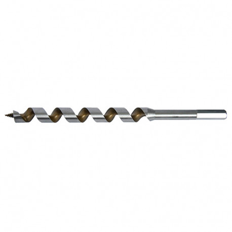 Mèche bois de charpente à spirale unique Acier Pro TiN D. 10.5 x Lu. 155 x LT. 230 mm x Q. 6 pans - FZ105230 - Labor