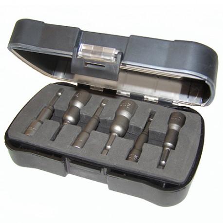 Coffret 6 douilles magnetiques longues D. 5,5 à 13 x Lt. 65 x Q. 6,35 mm - IZZ10010 - Labor