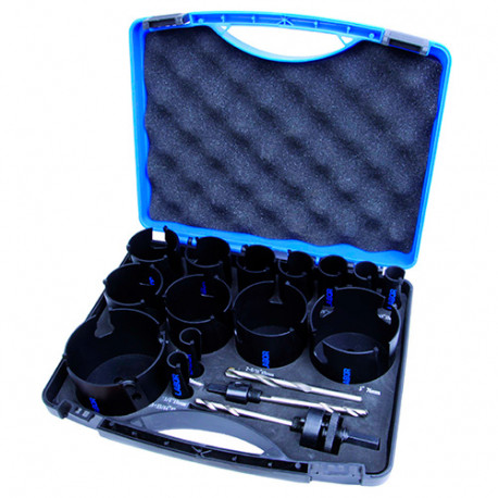Coffret 17 pcs de trépans bois TCT D. 19 à 82 x Lu. 60 mm - JH109598 - Labor