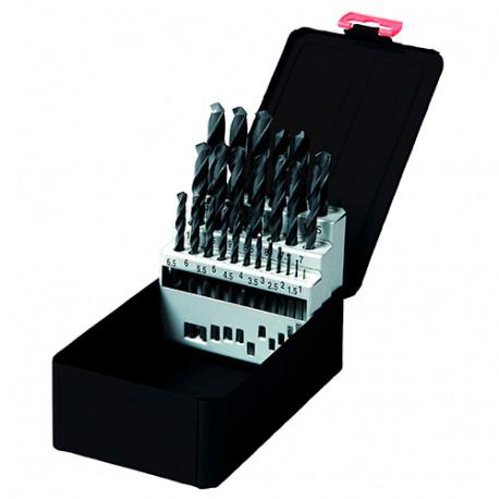 Coffret 25 pcs de forets métaux DIN 338 HSS-R laminé D. 1 à 13 mm - KA010250 - Labor