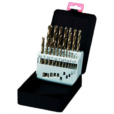 Coffret 19 pcs de forets métaux DIN 338 HSS M35 5% Cobalt D. 1 à 10 mm - KA012190 - Labor
