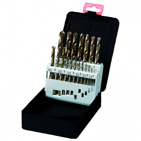 Coffret 19 pcs de forets métaux DIN 338 HSS TiN D. 1 à 10 mm - KA016190 - Labor