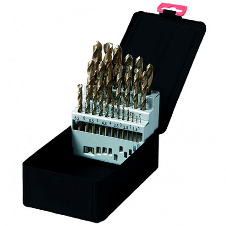Coffret 25 pcs de forets métaux DIN 338 HSS TiN D. 1 à 13 mm - KA016250 - Labor