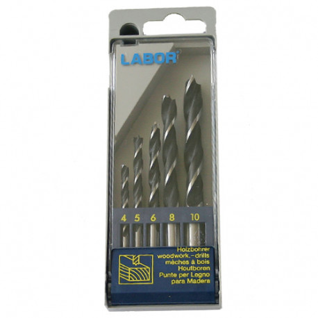 Coffret 5 pcs mèches à bois hélicoïdales CV D. 4 à 10 mm x Q. cylindrique - KA030052 - Labor