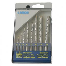 Coffret 8 forets béton asymétrique 2 taillants D. 3 à 10 mm x Q. cylindrique - KA030055 - Labor