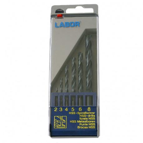 Coffret 6 forets métaux DIN 338 HSS-R laminé D. 2 à 8 mm x Q. cylindrique - KA030060 - Labor