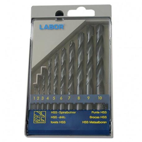 Coffret 10 forets métaux DIN 338 HSS-R laminé D. 1 à 10 mm x Q. cylindrique - KA030100 - Labor