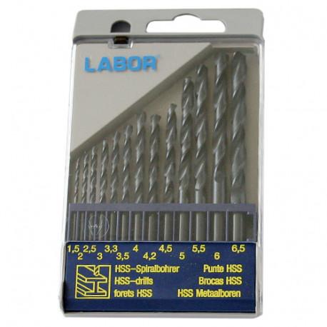 Coffret 13 forets métaux DIN 338 HSS-R laminé D. 1,5 à 6,5 mm x Q. cylindrique - KA030130 - Labor