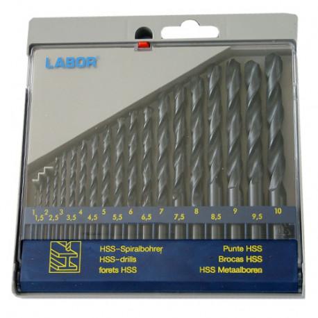 Coffret 19 forets métaux DIN 338 HSS-R laminé D. 1 à 10 mm x Q. cylindrique - KA030190 - Labor