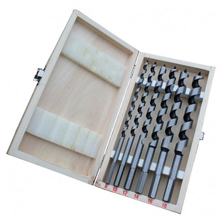 Coffret 6 mèches de charpente à spirale unique D. 8 à 18 x Lt. 230 mm x Q. 6 pans - KA050230 - Labor