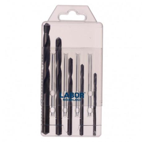 Coffret 5 pcs forets multi-matériaux 2 taillants DIN 338 TCT D. 4 à 10 mm x Q. cylindrique - KA200200 - Labor